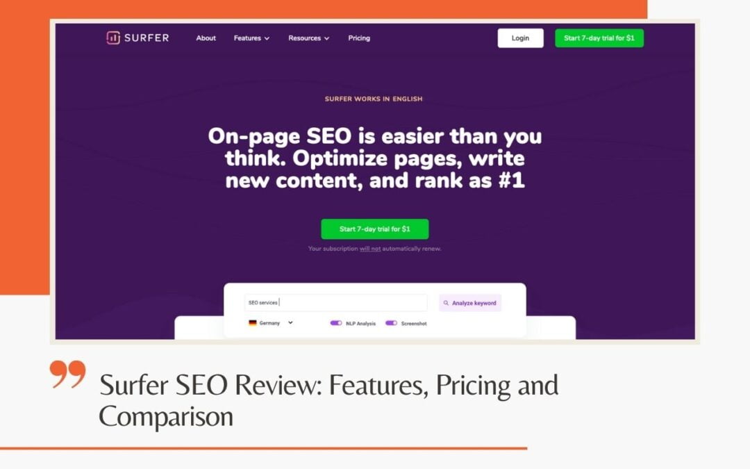 Surfer SEO Review: Features, Pricing and Comparison
